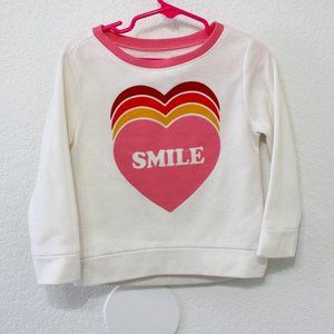 Old Navy heart sweatshirt with Smile and hearts
